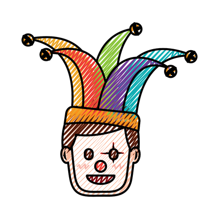 face man with clown mask and jester hat decoration vector illustration drawing color image