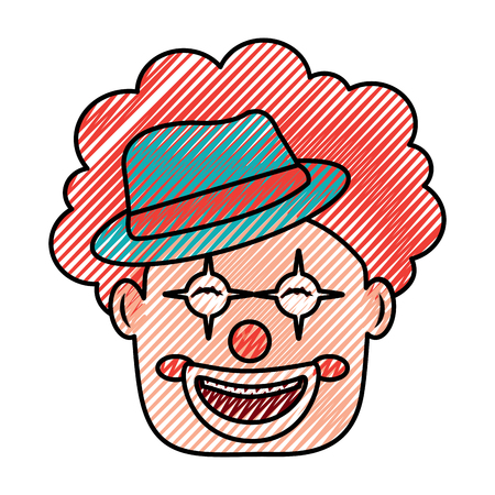 smiling clown face with hat and hair red vector illustration drawing color image Иллюстрация