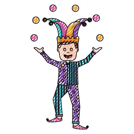 fools day joker make trick balls surprise box vector illustration drawing color image