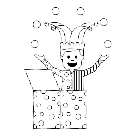 happy joker in the box with jester hat and balls trick vector illustration dotted line image