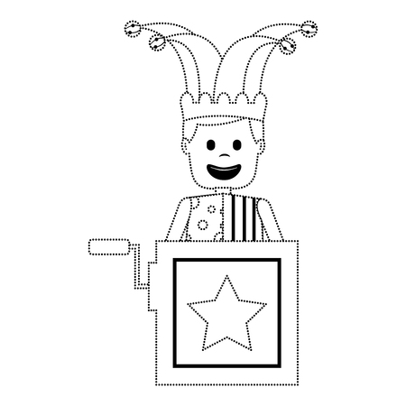 jack in the box surprise with jester and clothes hat vector illustration dotted line image  Illustration