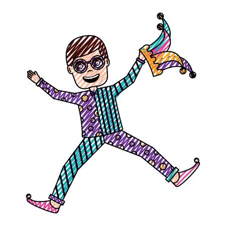 l'uomo salta felice con gli occhiali sciocchi e cappello da giullare illustrazione vettoriale disegno immagine a colori