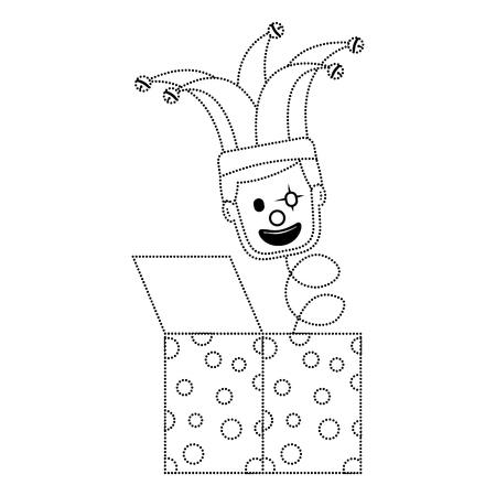 fools day surprise clown in jack box springing up vector illustration dotted line image  Illustration