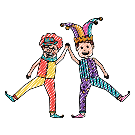funny happy clown and man with jester clothes hat characters vector illustration drawing color image