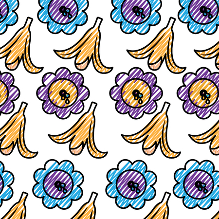 fools day joke banana peel and water flower vector illustration