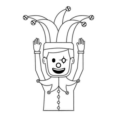 광대 마스크 광대 모자 재미 벡터 일러스트와 함께 만화 남자 점선 이미지