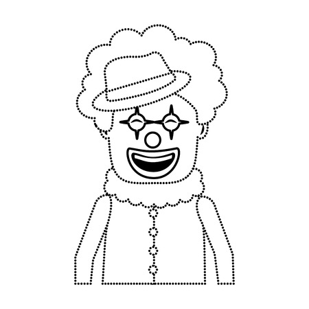 portrait happy clown with makeup and hat vector illustration dotted line image