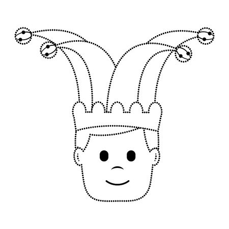 happy face man with jester hat character vector illustration dotted line image