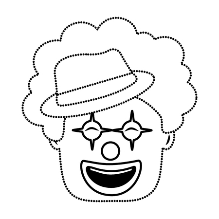 smiling clown face with hat and hair funny vector illustration dotted line image  Ilustração