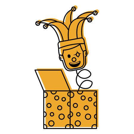 fools day surprise clown in jack box springing up vector illustration yellow image