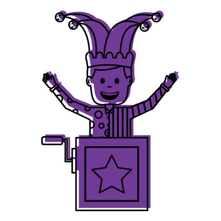 joker jumping jack in the box surprise fools day vector illustration violet image