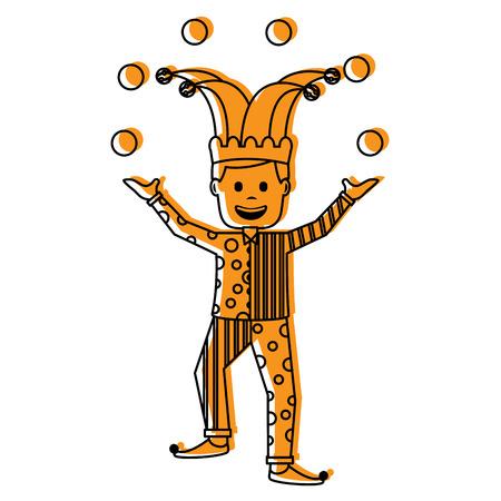 fools day joker make trick balls surprise box vector illustration yellow image