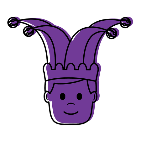 happy face man with jester hat character vector illustration violet image