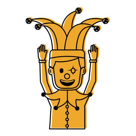 광대 마스크 광대 모자 재미 벡터 일러스트와 함께 만화 남자 노란색 이미지