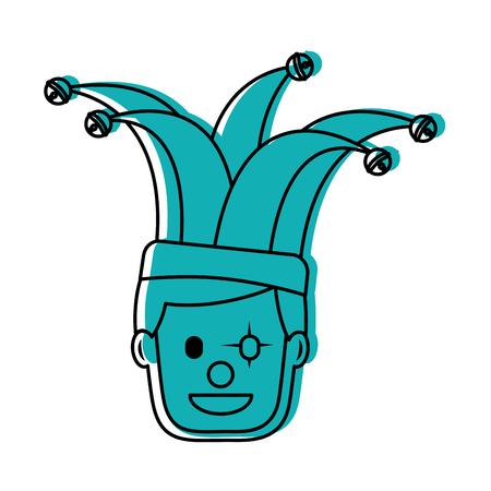 광대 모자 문자 벡터 일러스트 레이 션 녹색 이미지와 함께 행복 한 얼굴 남자 광대 마스크