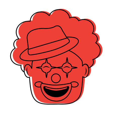 smiling clown face with hat and hair funny vector illustration Ilustração