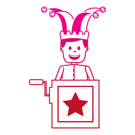 jack in the box surprise with jester and clothes hat vector illustration gradient color image
