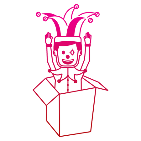 joker with clown mask in the box prank hands up fools vector illustration gradient color image