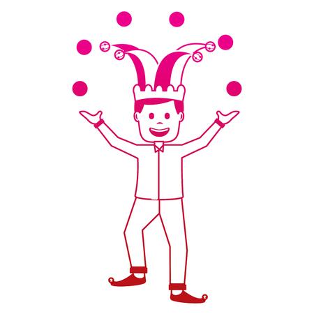 fools day joker make trick balls surprise box vector illustration gradient color image Illustration