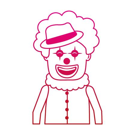 portrait happy clown with makeup and hat vector illustration gradient color image