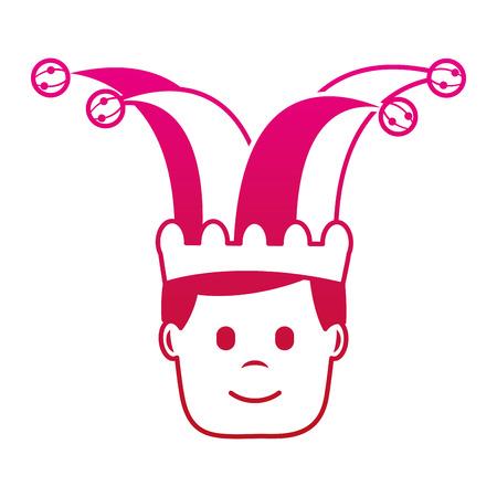 광대 모자 문자 벡터 일러스트 그라디언트 컬러 이미지와 함께 행복 한 얼굴 남자 일러스트