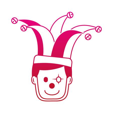 광대 모자 문자 벡터 일러스트 그라디언트 컬러 이미지와 함께 행복 한 얼굴 남자 광대 마스크 일러스트