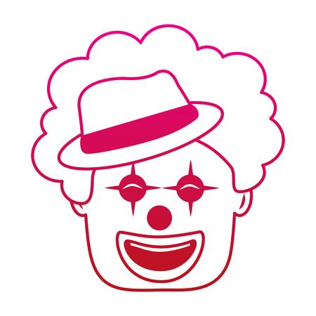 모자와 머리 재미 있은 벡터 일러스트 그라디언트 컬러 이미지와 웃는 광대 얼굴