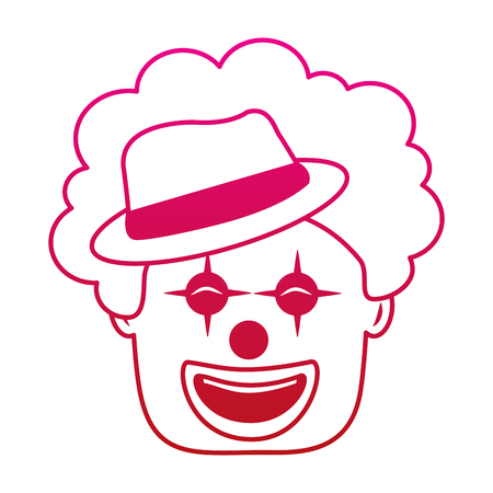 smiling clown face with hat and hair funny vector illustration gradient color image
