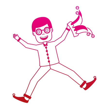 man jumps happy with silly glasses and jester hat vector illustration gradient color image 向量圖像