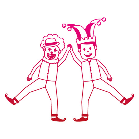 funny happy clown and man with jester clothes hat characters vector illustration gradient color image