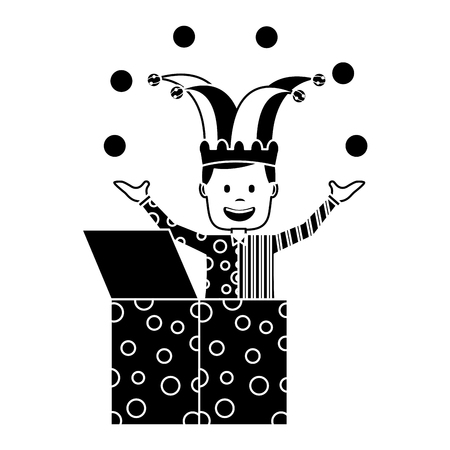 happy joker in the box with jester hat and balls trick vector illustration black and white image