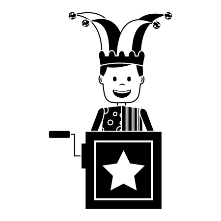 jack in the box surprise with jester and clothes hat vector illustration black and white image