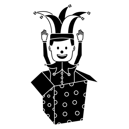 joker with clown mask in the box prank hands up fools vector illustration black and white image