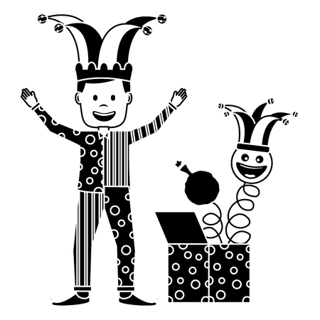clown man standing with surprise box and emoticon cushion vector illustration black and white image Ilustração
