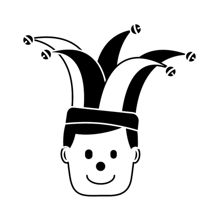 happy face man clown mask with jester hat character vector illustration black and white image