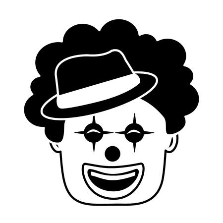 smiling clown face with hat and hair funny vector illustration black and white image