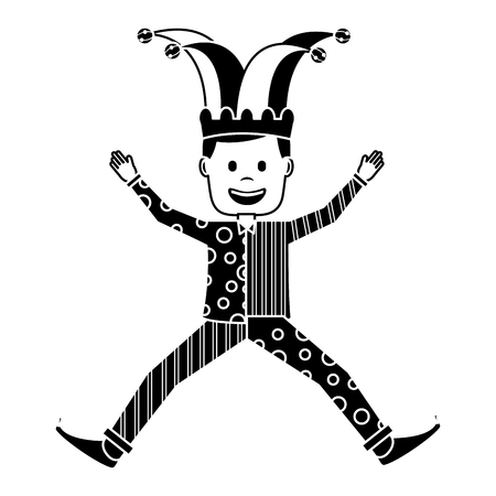 joker jumping surprise fools day character happy vector illustration black and white image Illustration