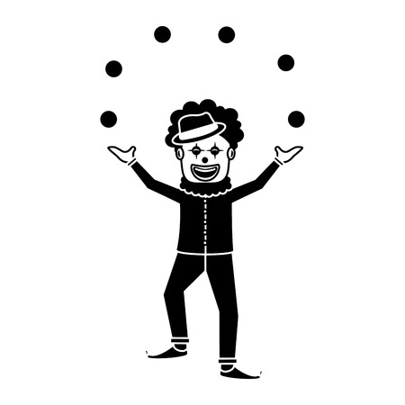 happy smiling clown juggling balls show character vector illustration black and white image Illustration