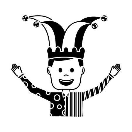 cartoon man with clown mask jester hat funny vector illustration black and white image Stock Illustratie