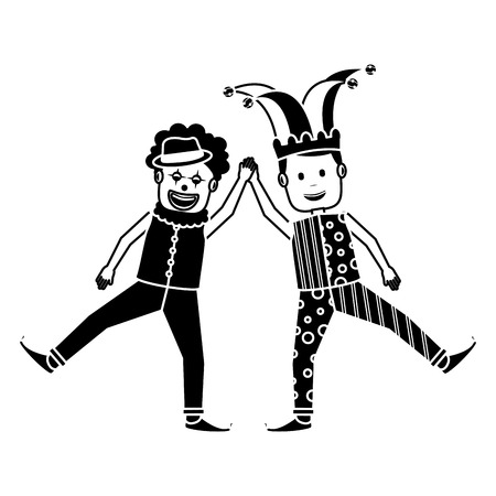 funny happy clown and man with jester clothes hat characters vector illustration black and white image Illustration
