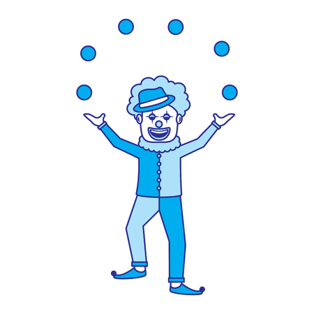 happy smiling clown juggling balls show character vector illustration blue image Vectores