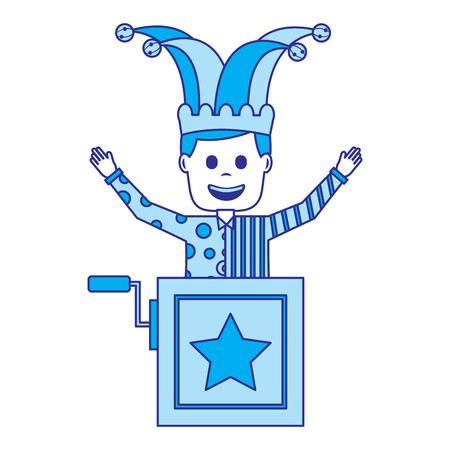 joker jumping jack in the box surprise fools day vector illustration blue image Illustration