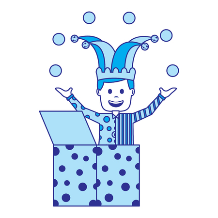 happy joker in the box with jester hat and balls trick vector illustration blue image