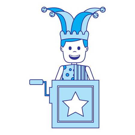 jack in the box surprise with jester and clothes hat vector illustration blue image Illustration