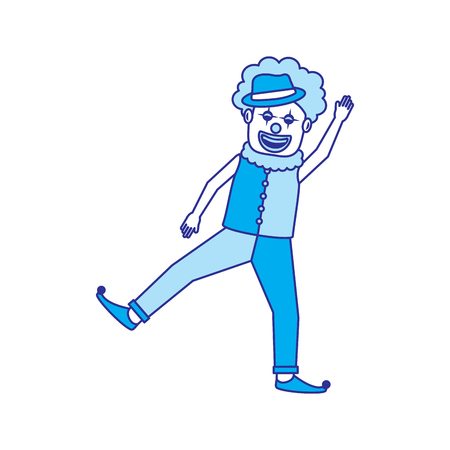 friendly funny clown performer character vector illustration blue image
