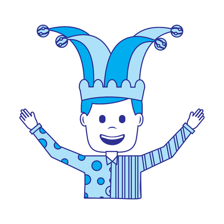 portrait man in clown clothes and jester hat vector illustration blue image 일러스트