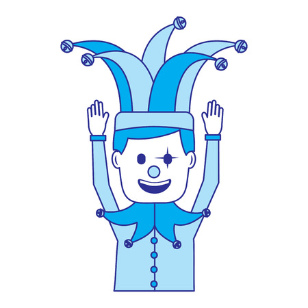 cartoon man with clown mask jester hat funny vector illustration blue image