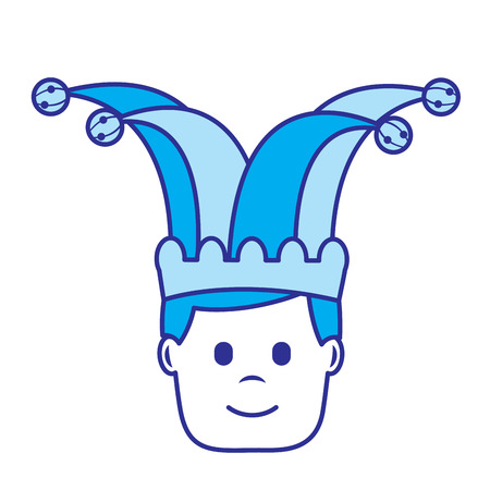 happy face man with jester hat character vector illustration blue image  イラスト・ベクター素材