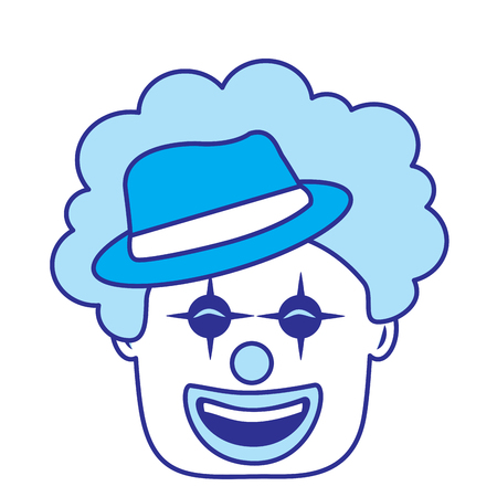 smiling clown face with hat and hair funny vector illustration blue image