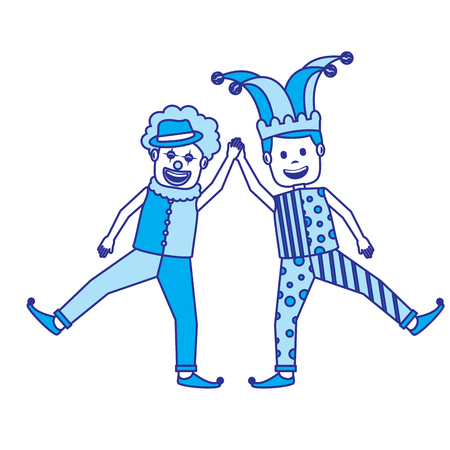 funny happy clown and man with jester clothes hat characters vector illustration blue image 向量圖像